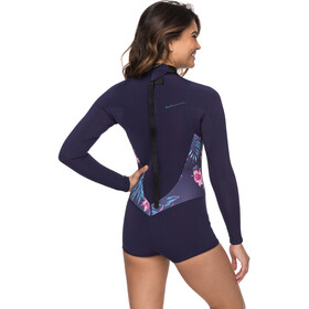 Roxy 2/2 Syncro Series Spring FLT Traje de neopreno corto de manga larga con cremallera en la espalda Mujer, blue ribbon
